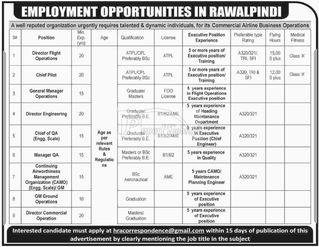 Commercial Airline Business Operations Company Rawalpindi Jobs 2017