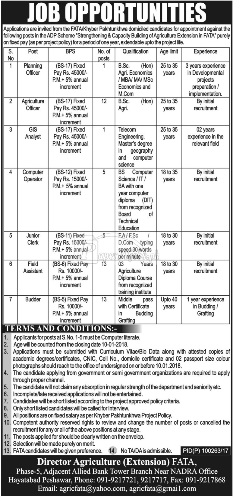 Director Agriculture Extension FATA Peshawar Jobs 2017