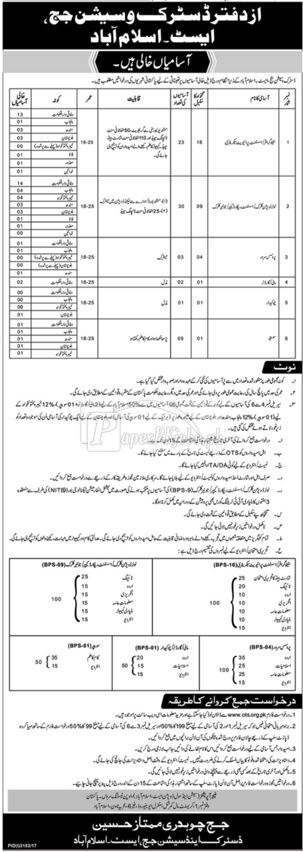 District & Session Court Islamabad OTS Jobs 2017