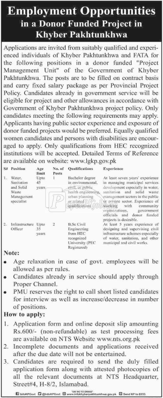 Donor Funded Project Khyber Pakhtunkhwa NTS Jobs 2017