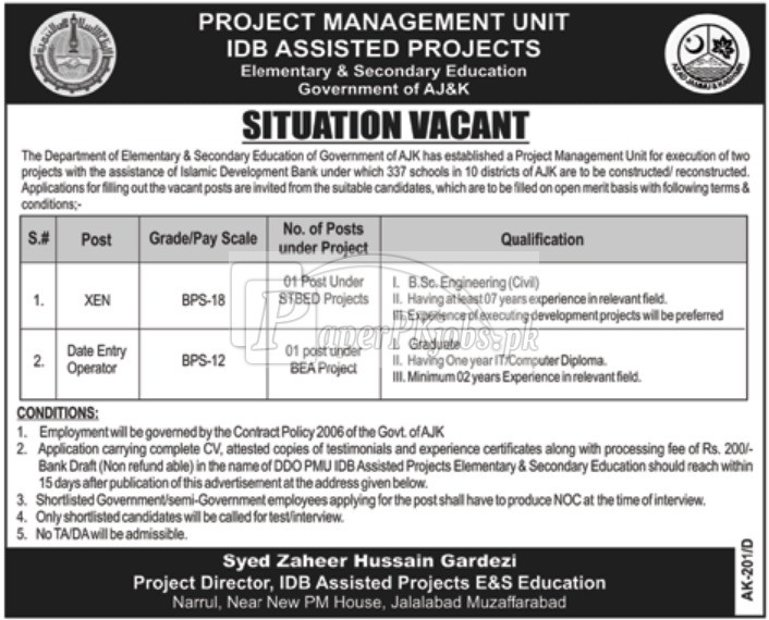 Elementary & Secondary Education Department Muzaffarabad AJK Jobs 2017