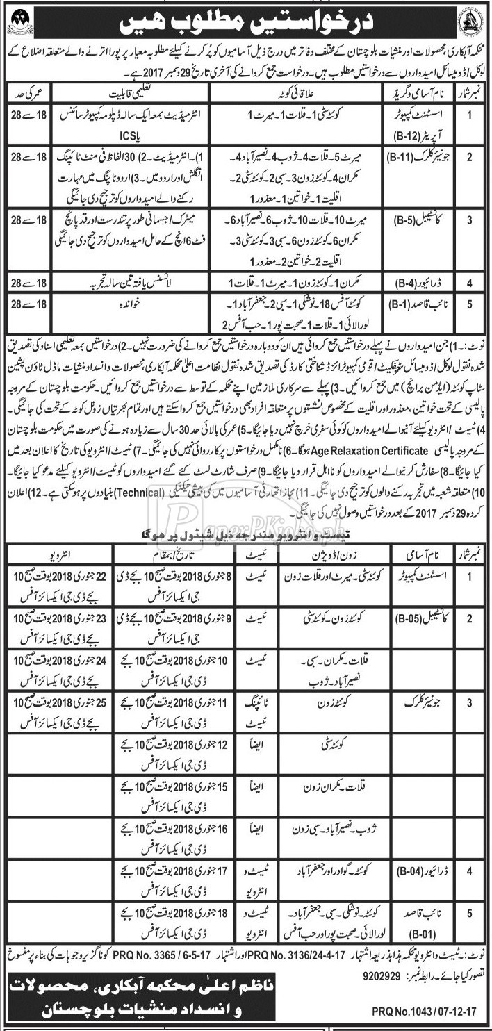 Excise Taxation & Anti Narcotics Department Balochistan Jobs 2017