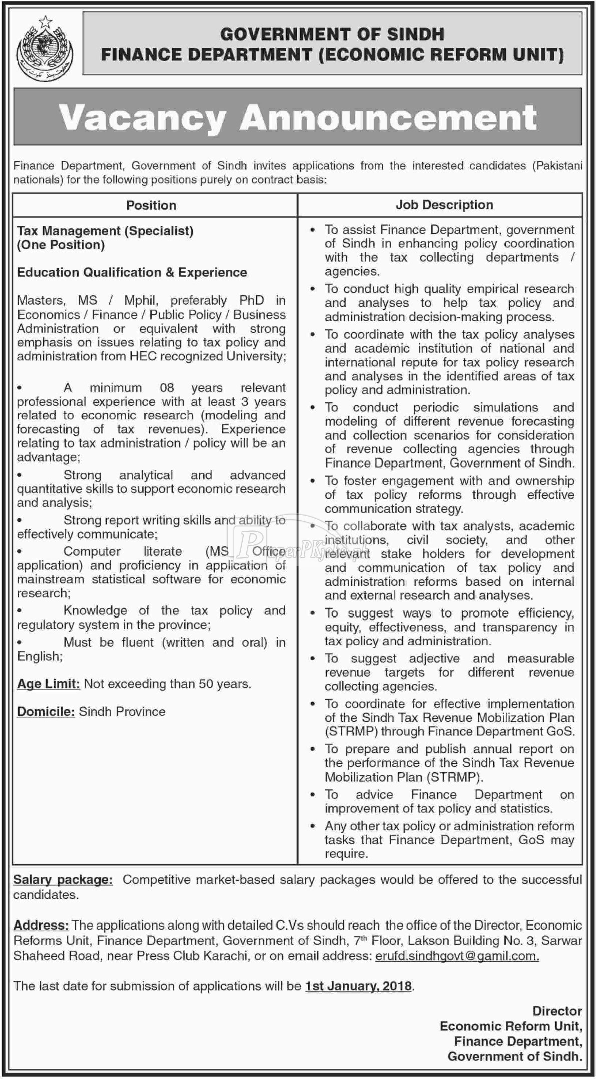 Finance Department Government of Sindh Jobs 2017