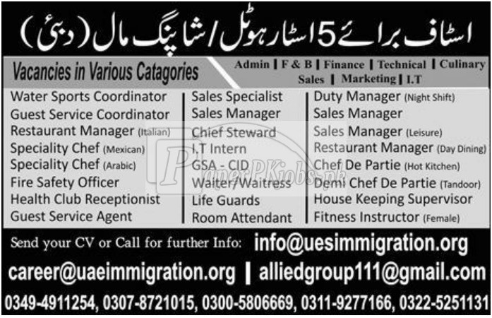 Five Star Hotel Dubai UAE Jobs 2017