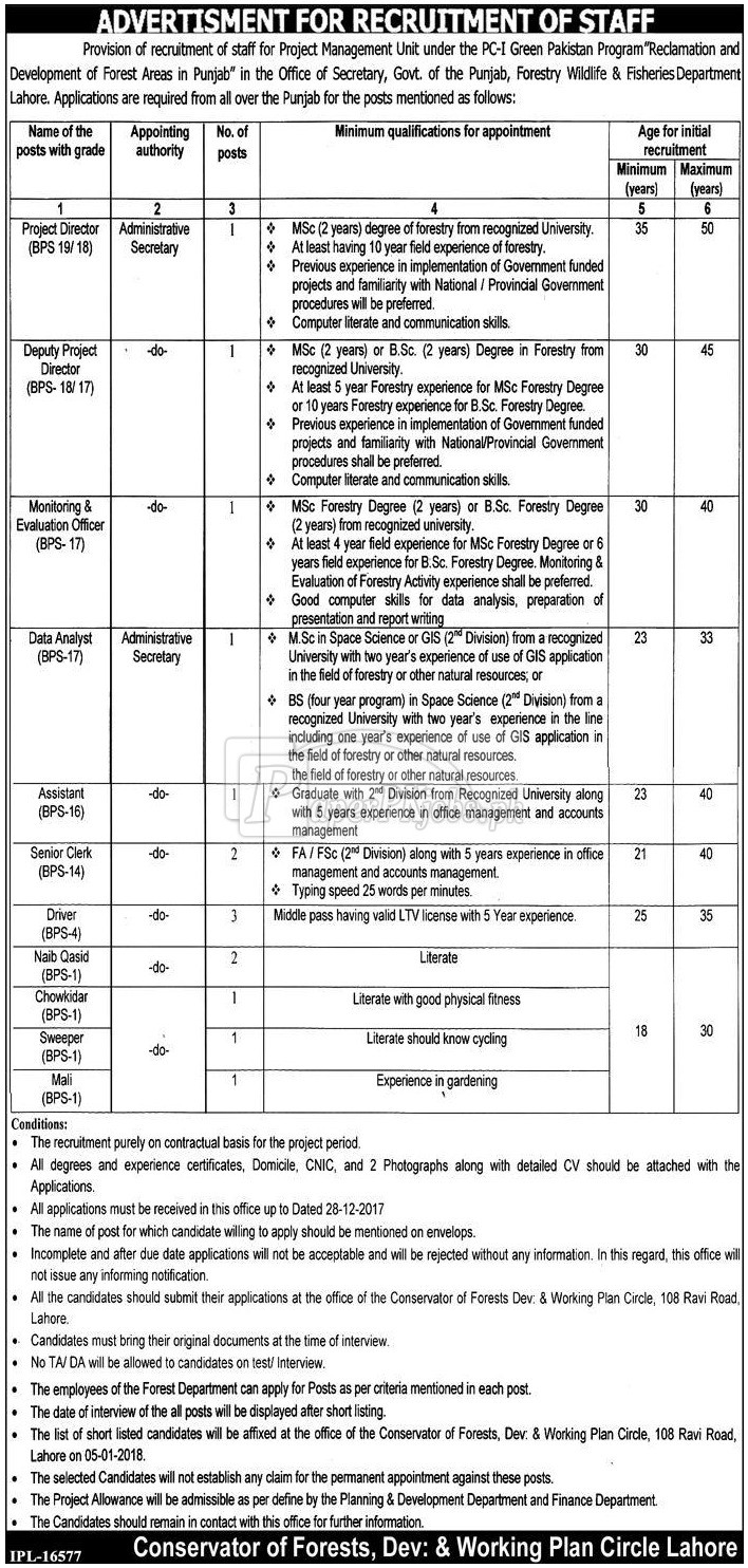 Forestry Wildlife & Fisheries Department Lahore Jobs 2017