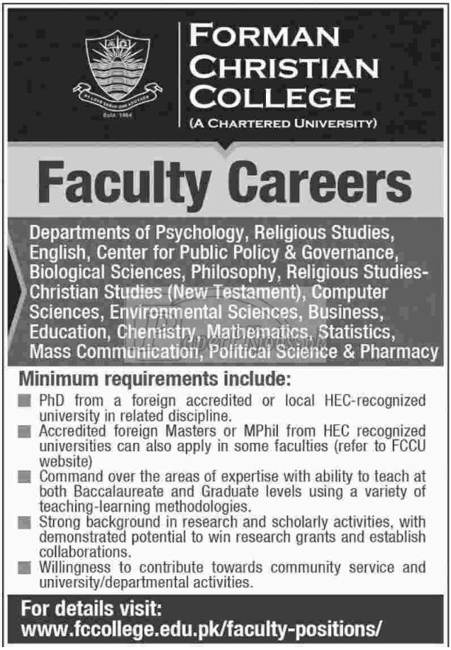 Forman Christian FC College Jobs 2017