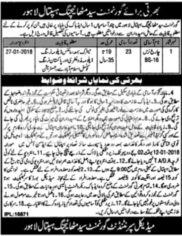 Government Syed Mitha Teaching Hospital Lahore Jobs 2017