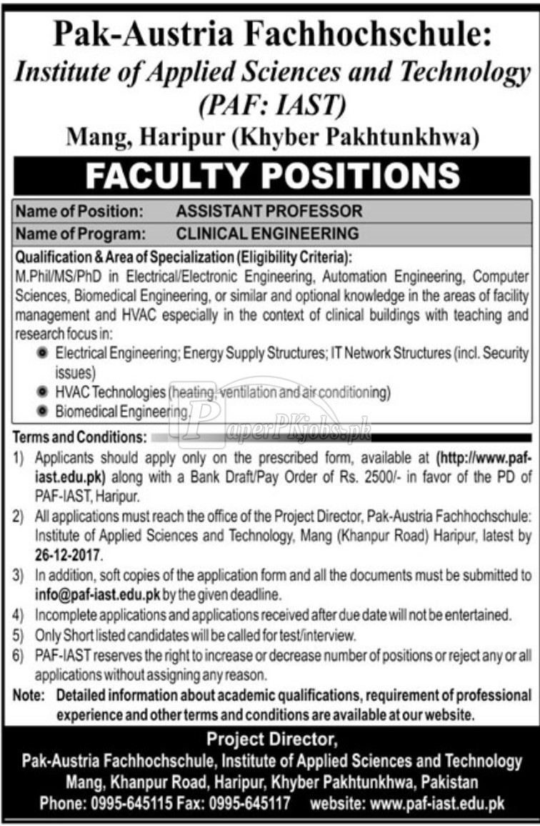 Institute of Applied Sciences and Technology Haripur Jobs 2017