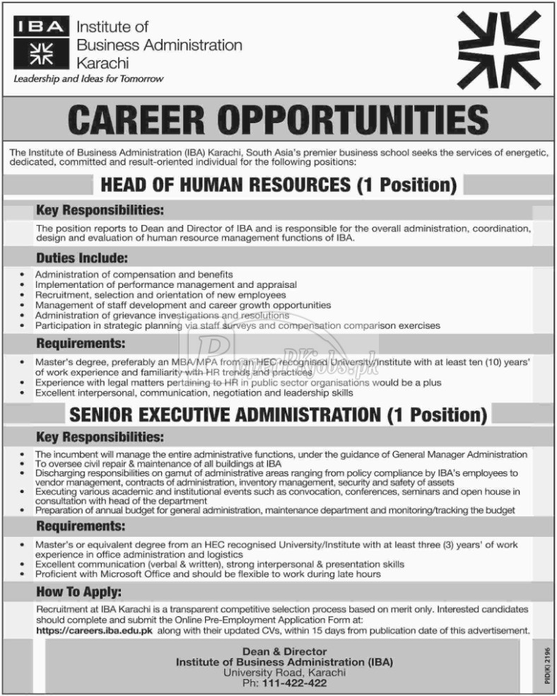 Institute of Business Administration IBA Karachi Jobs 2017