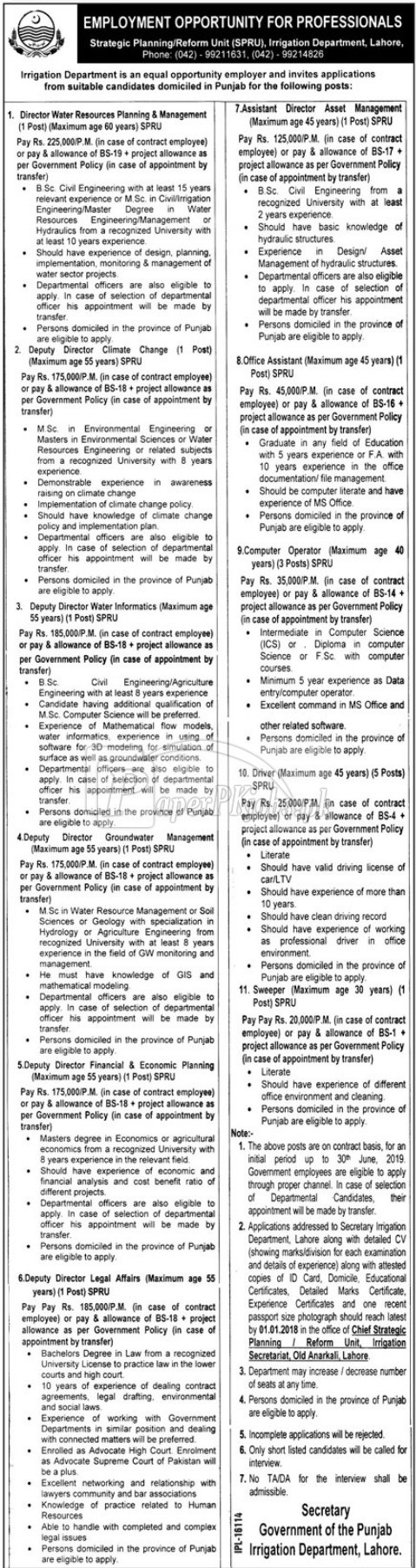 Irrigation Department Lahore Government of Punjab Jobs 2017