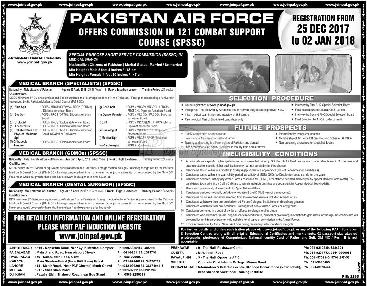 Join Pakistan Air Force PAF 2017