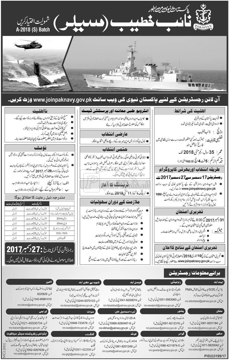 Join Pakistan Navy as Sailor 2017