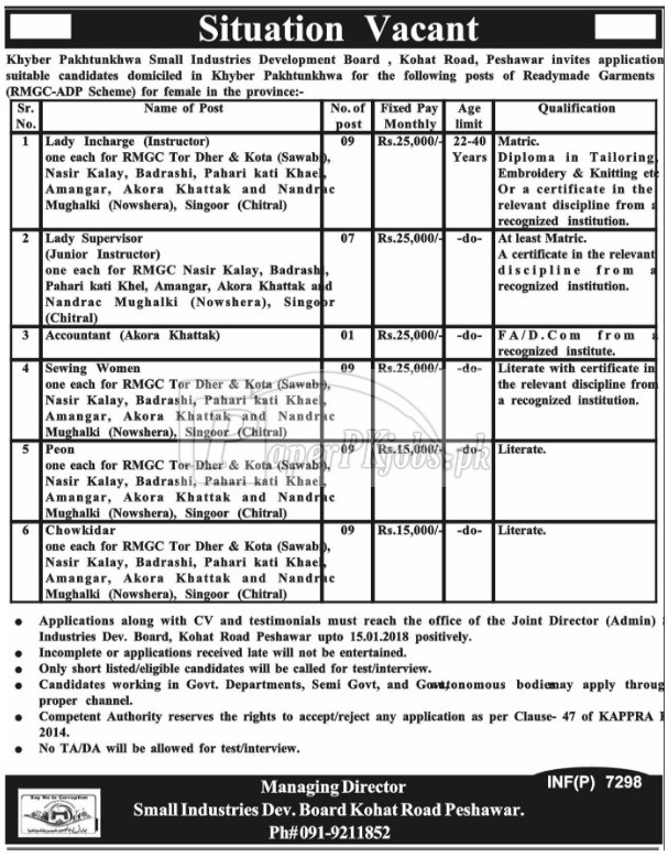Khyber Pakhtunkhwa Small Industries Development Board Peshawar Jobs 2017