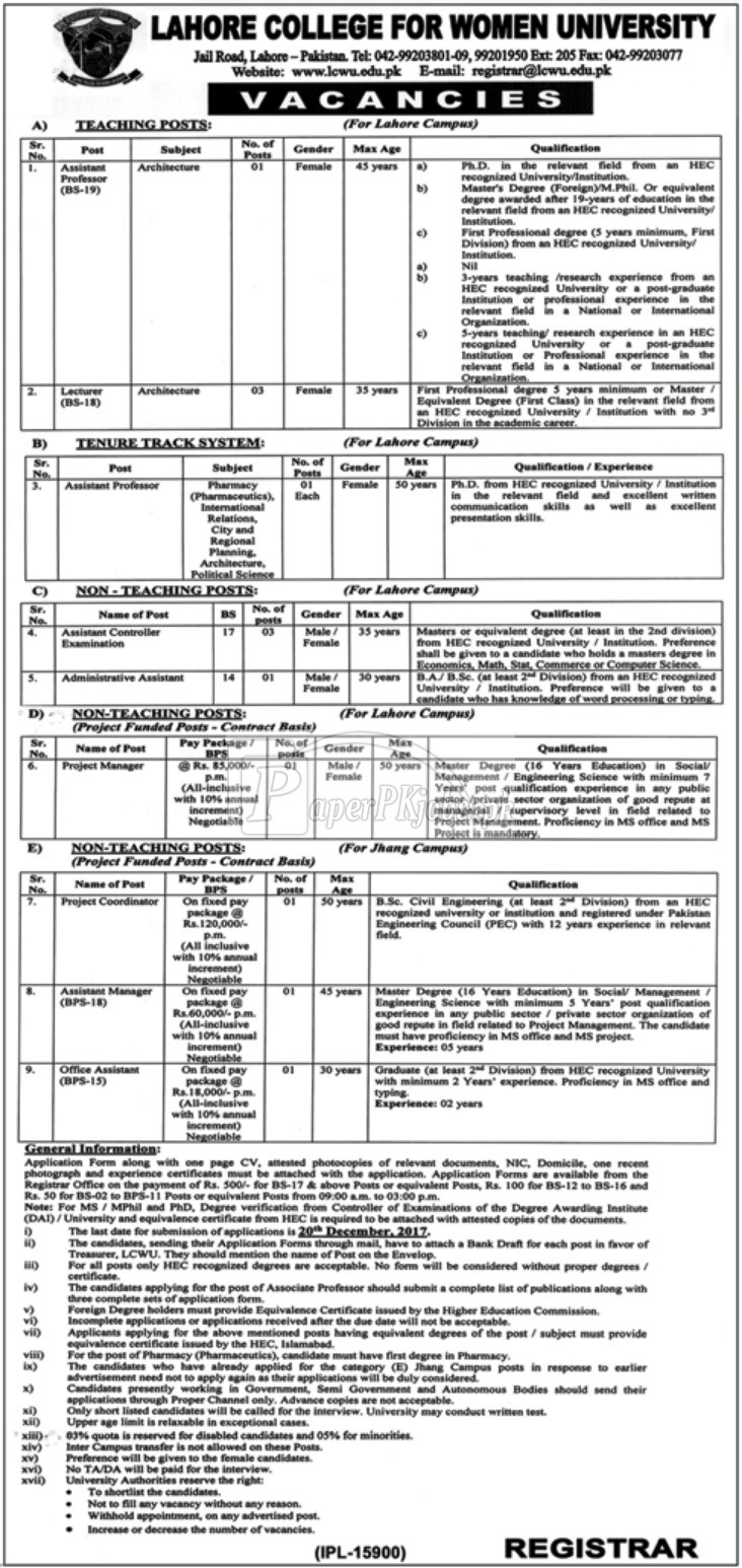 Lahore College for Women University LCWU Jobs 2017