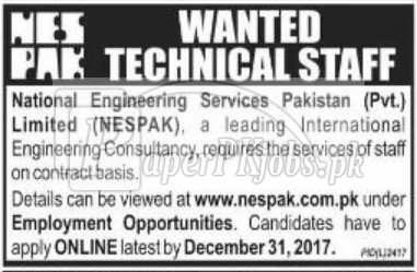 National Engineering Services Pakistan Pvt Ltd NESPAK Jobs 2017