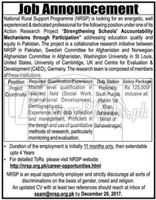 National Rural Support Programme NRSP Jobs 2017