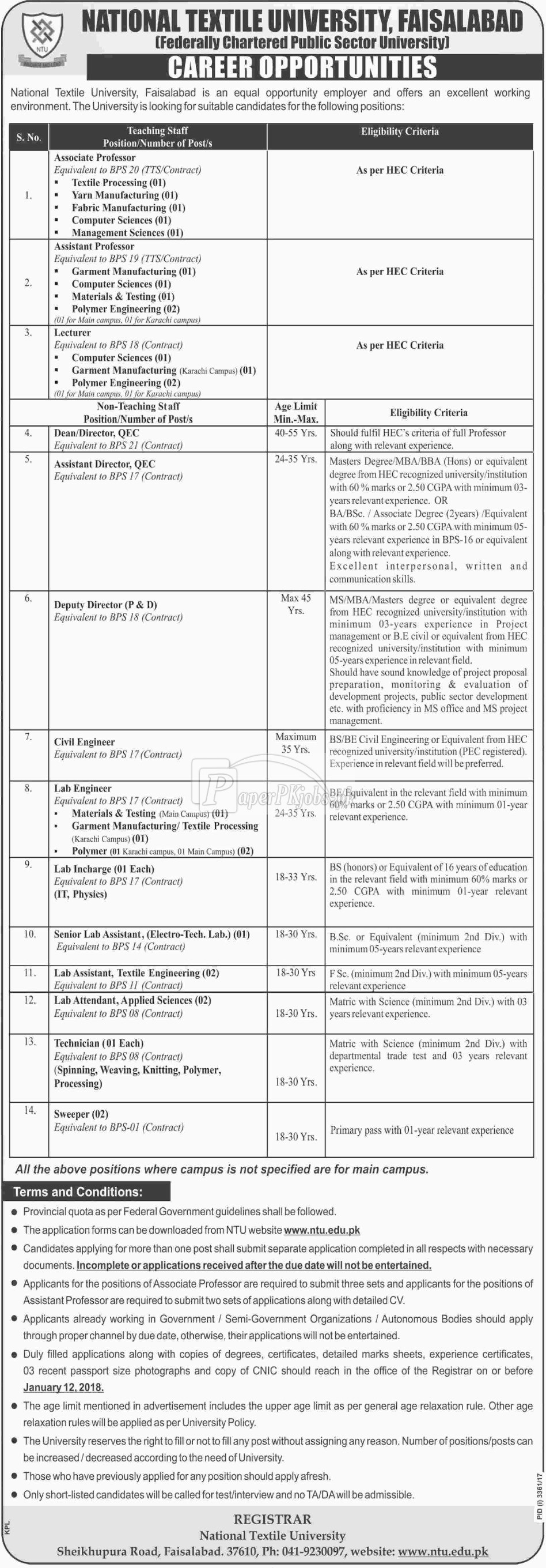 National Textile University NTU Faisalabad Jobs 2017