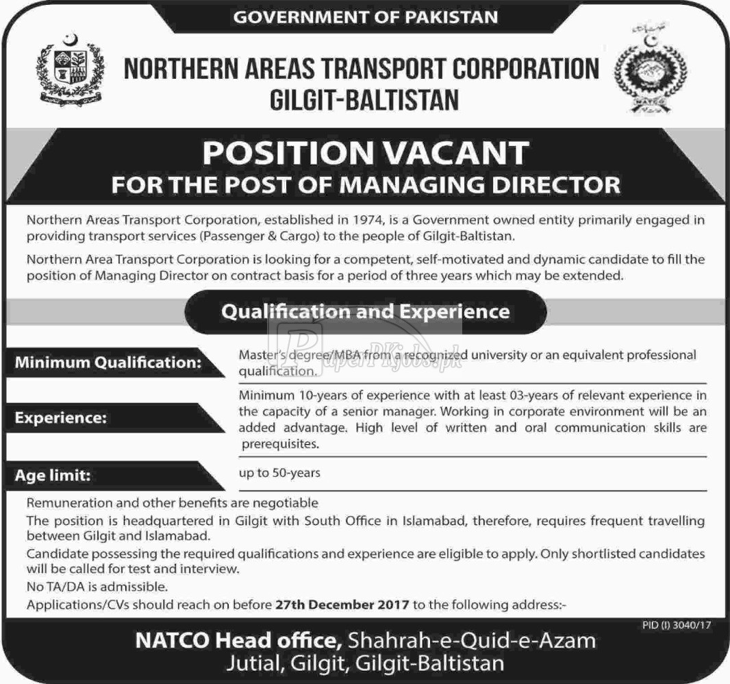 Northern Areas Transport Corporation Gilgit Baltistan Jobs 2017