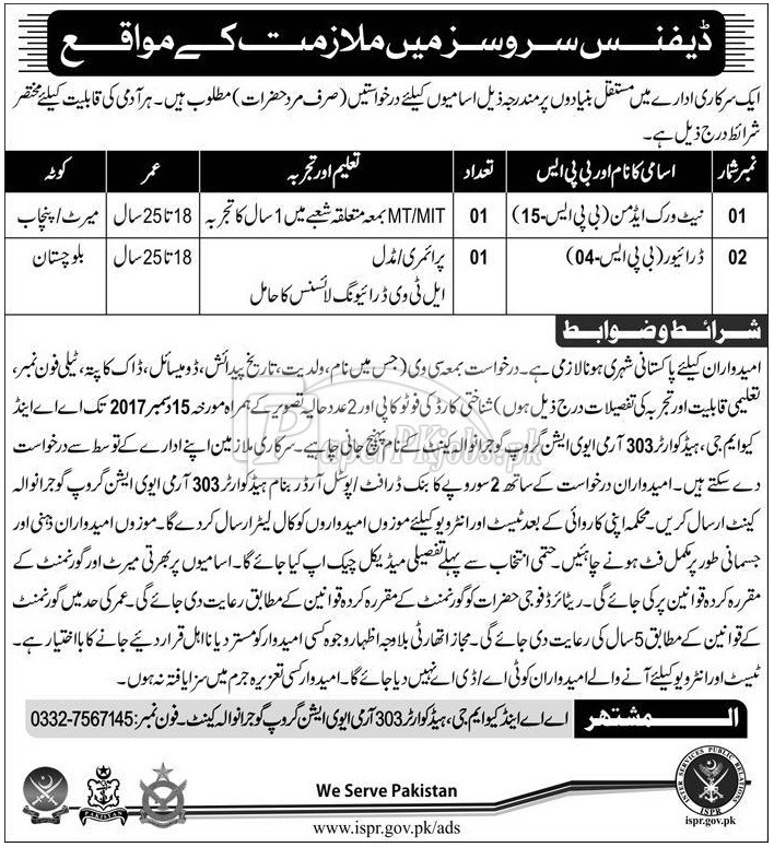 Pak Army Defence Services Jobs 2017