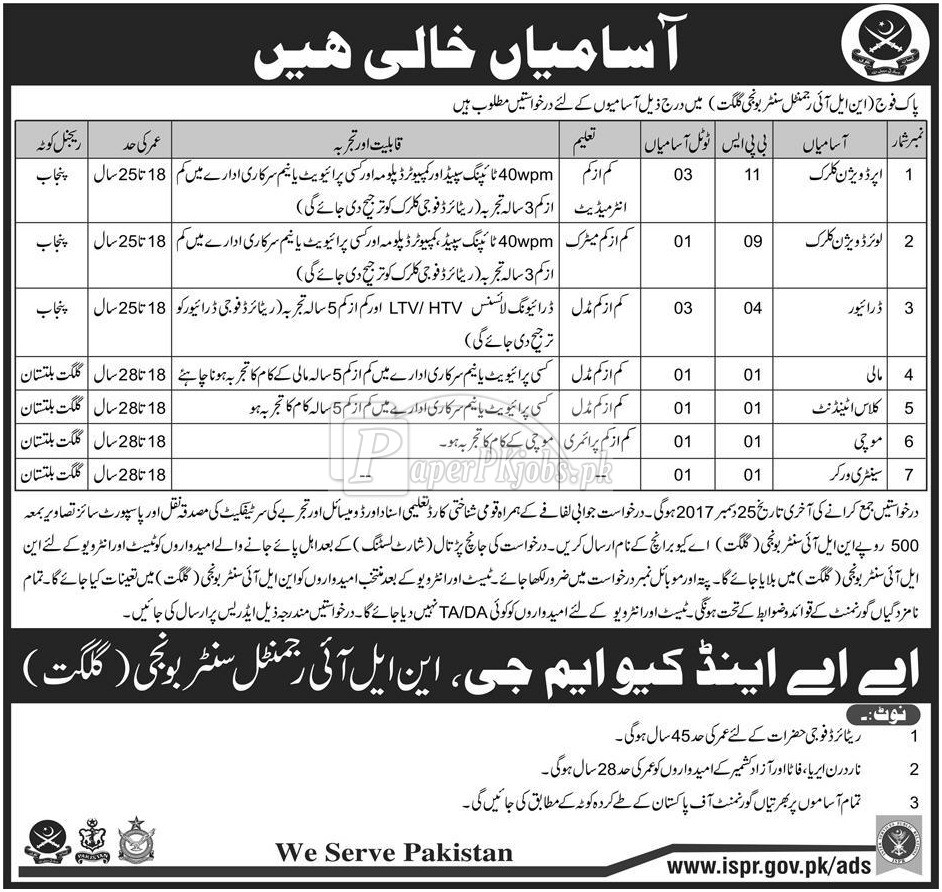 Pak Army NLI Regimental Center Gilgit Jobs 2017