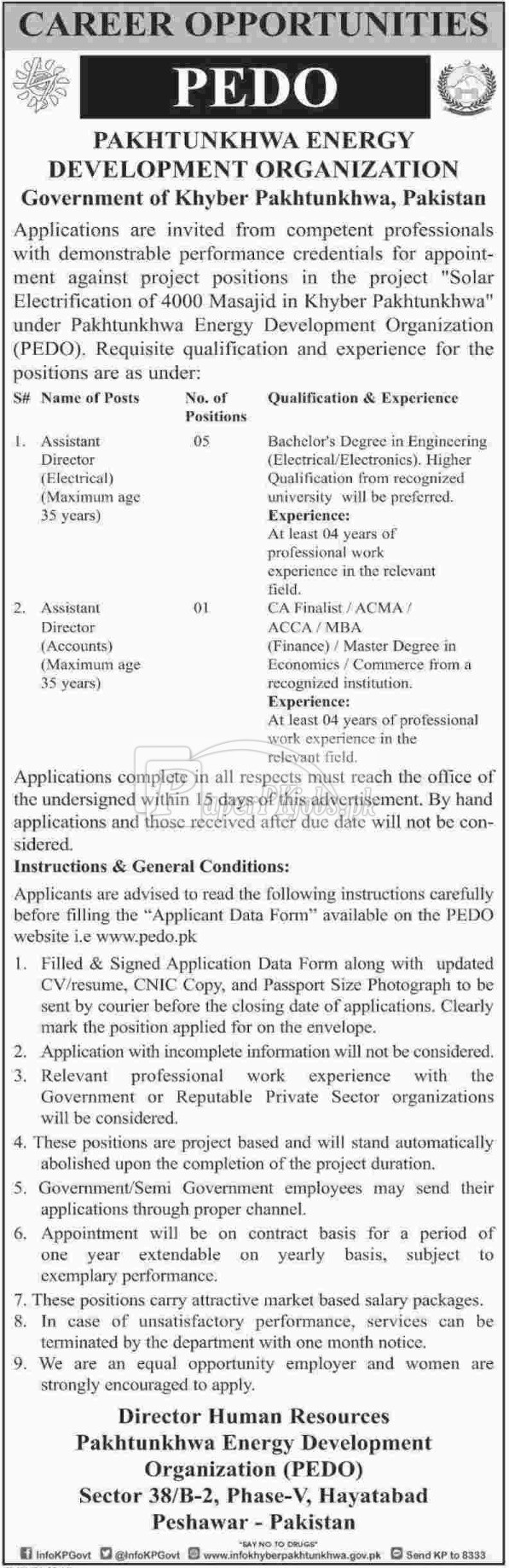 Pakhtunkhwa Energy Development Organization PEDO Jobs 2017