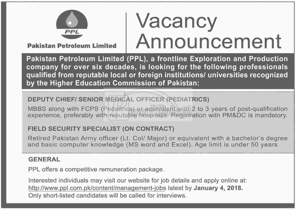 Pakistan Petroleum Limited PPL Jobs 2017Pakistan Petroleum Limited PPL Jobs 2017