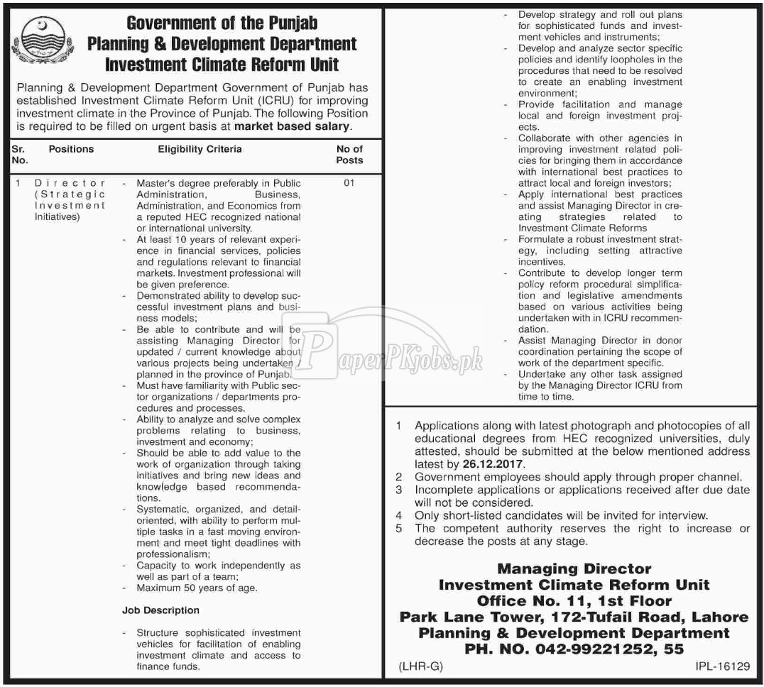 Planning & Development Department Punjab Jobs 2017