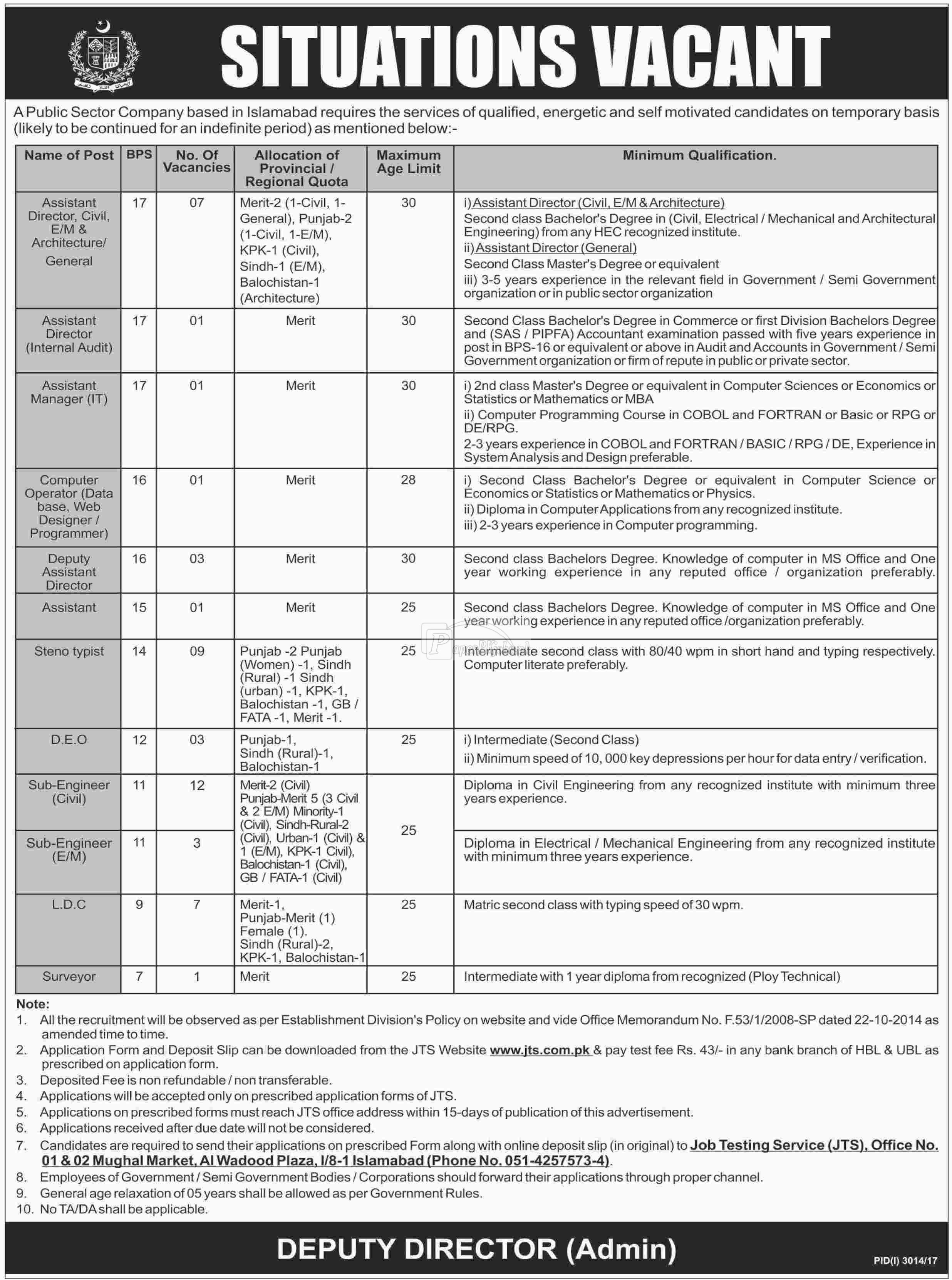 Public Sector Organization JTS Jobs 2017