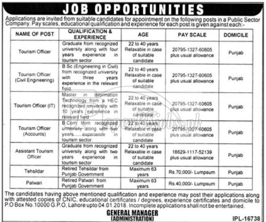 Public Sector Organization P.O.Box 10000 Lahore Jobs 2017