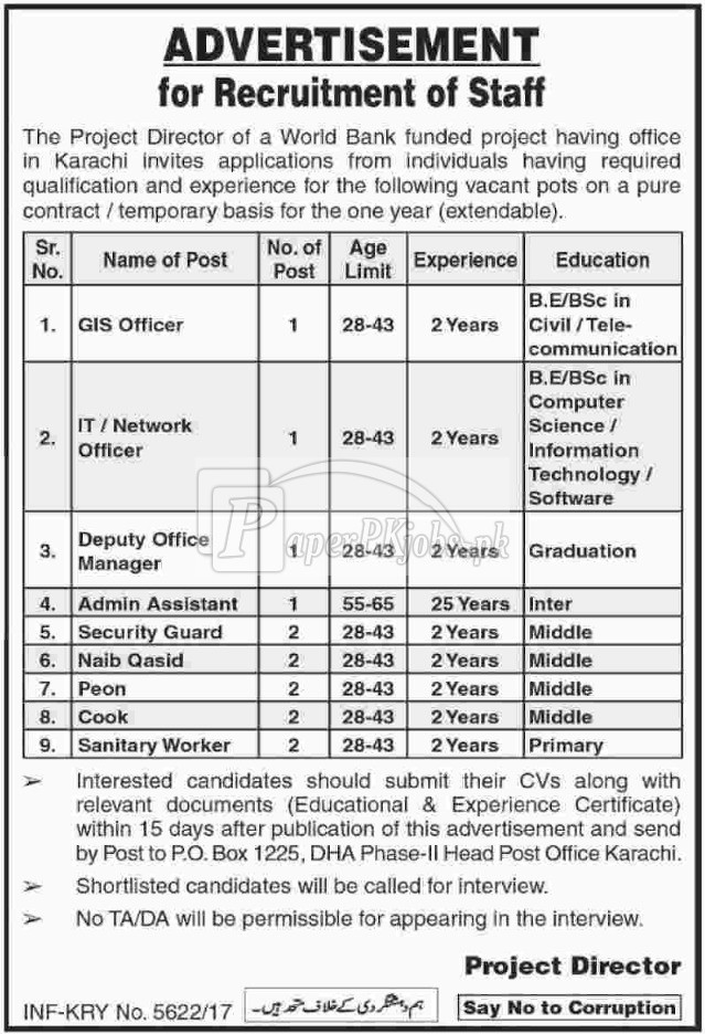 Public Sector Organization P.O.Box 1225 Karachi Jobs 2017