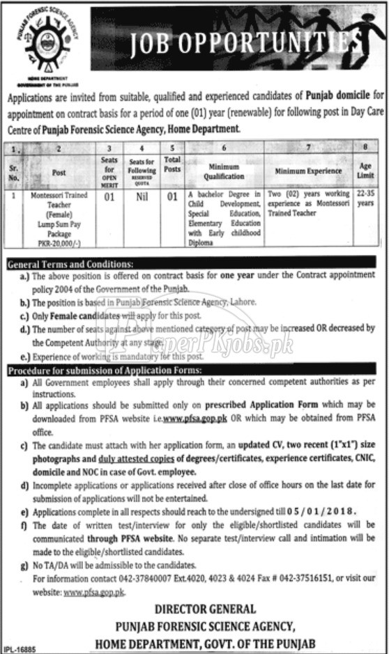 Punjab Forensic Science Agency PFSA Lahore Jobs 2017