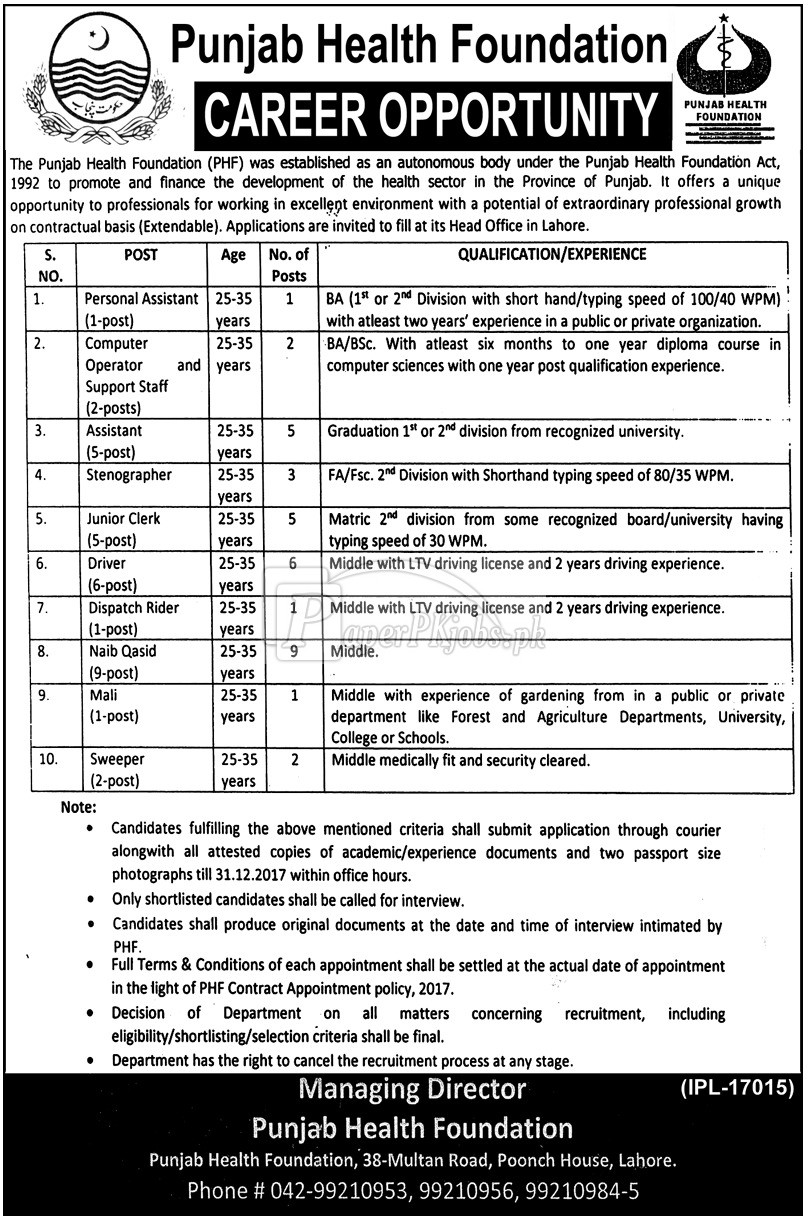 Punjab Health Foundation PHF Lahore Jobs 2017