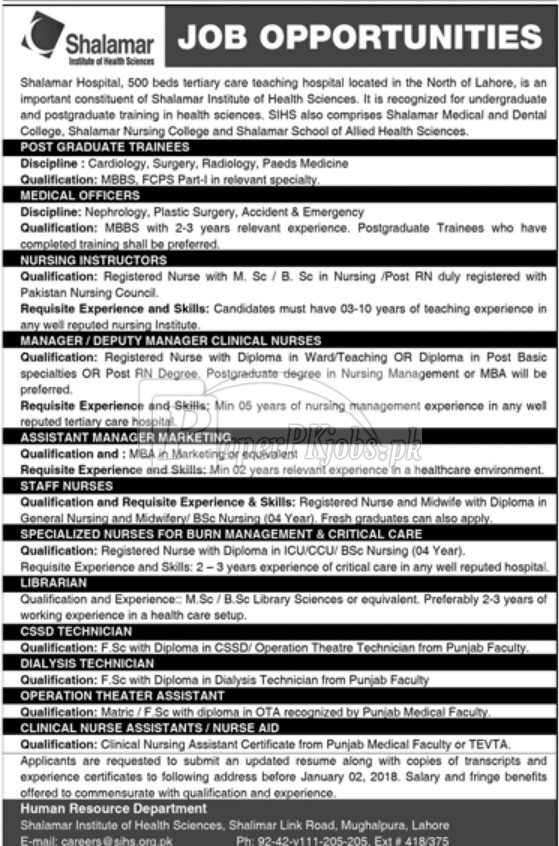 Shalamar Institute of Health Sciences SIHS Lahore Jobs 2017