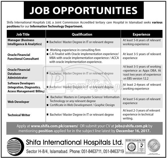 Shifa International Hospitals Ltd Islamabad Jobs 2017