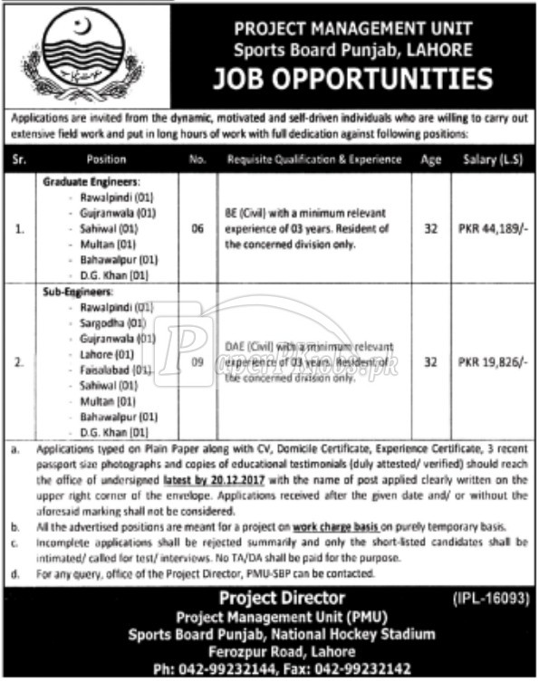 Sports Board Punjab Lahore Jobs 2017
