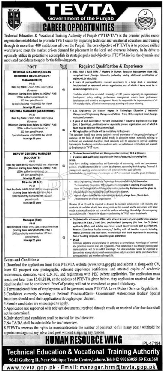 Technical Education & Vocational Training Authority of Punjab PTEVTA Jobs 2017