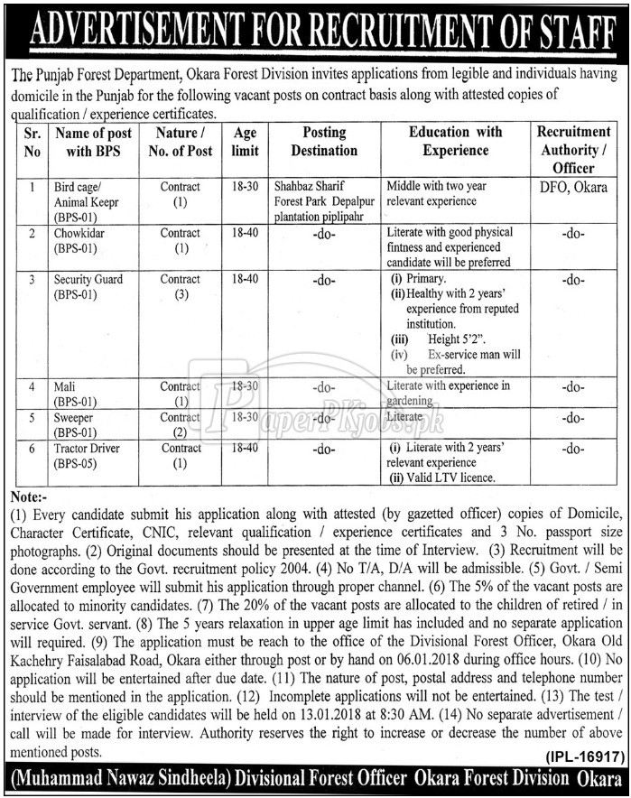 The Punjab Forest Division Okara Jobs 2017