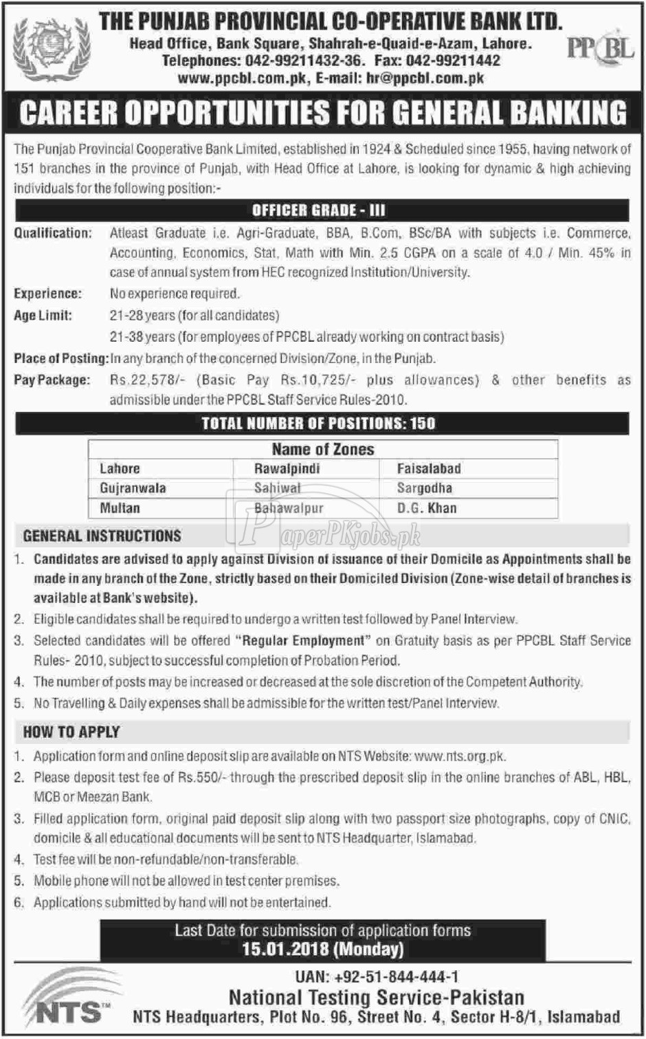 The Punjab Provincial Cooperative Bank Ltd. PPCBL Jobs 2017
