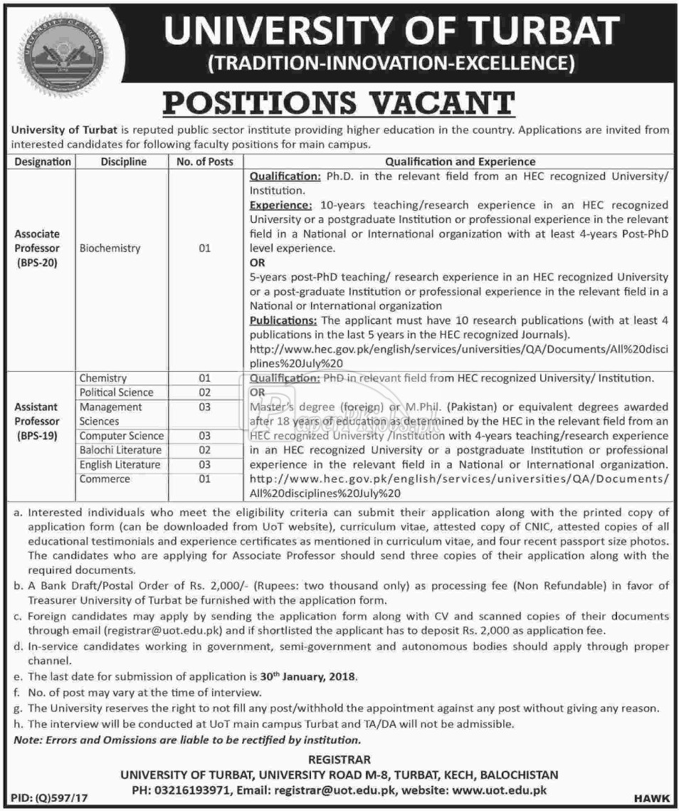 University of Turbat Balochistan Jobs 2017