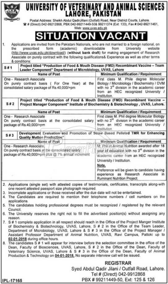 University of Veterinary And Animal Sciences UVAS Lahore Jobs 2017