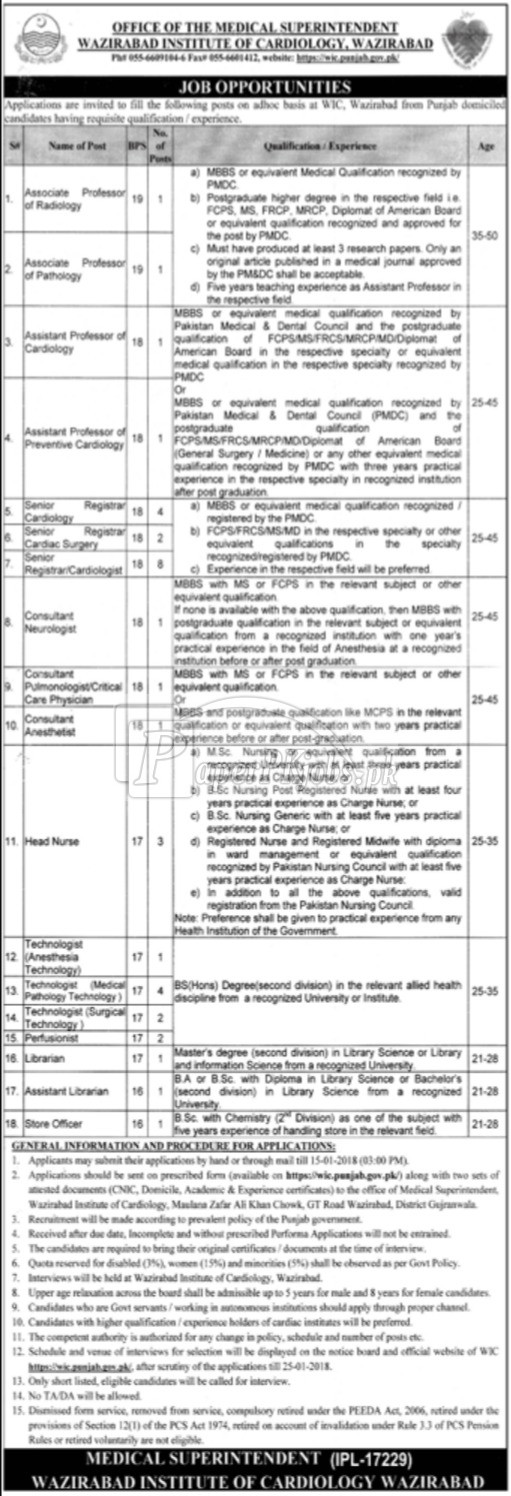 Wazirabad Institute of Cardiology Wazirabad Jobs 2017