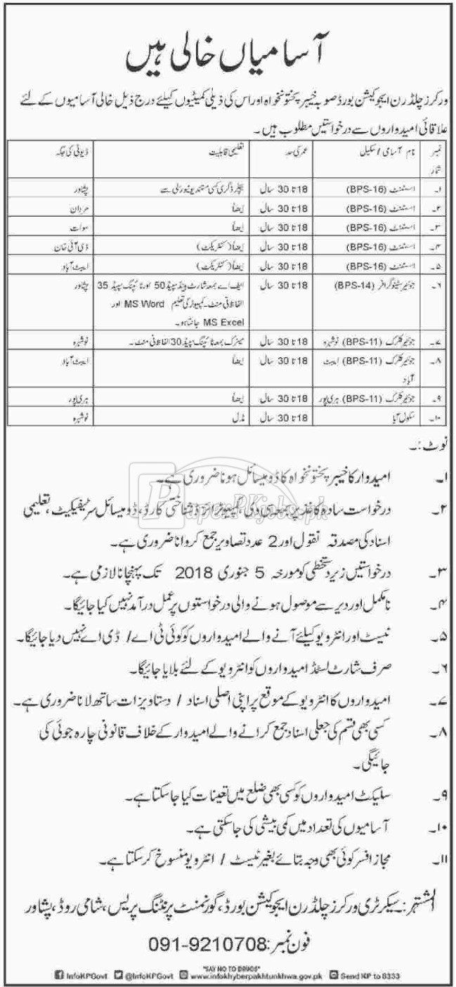 Workers Children Education Board KPK Jobs 2017