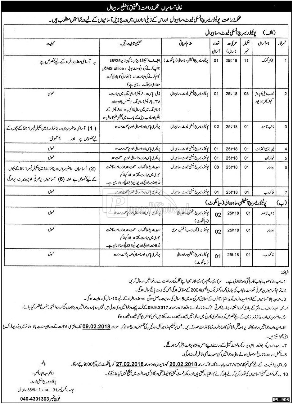 Agriculture Department Punjab Sahiwal Jobs 2018