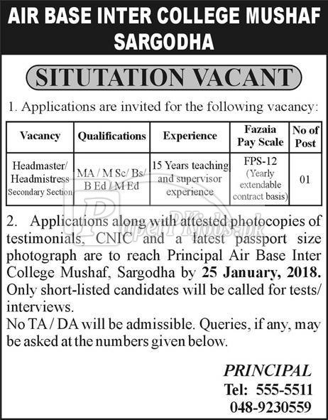 Air Base Inter College Mushaf Sargodha Jobs 2018
