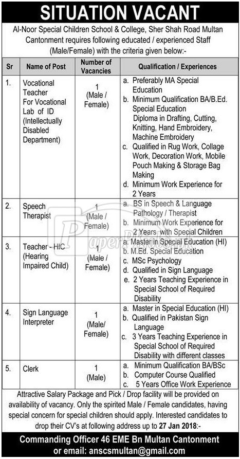 Al-Noor Special Children School & College Multan Cantt Jobs 2018