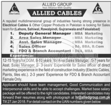 Allied Cables Jobs 2018