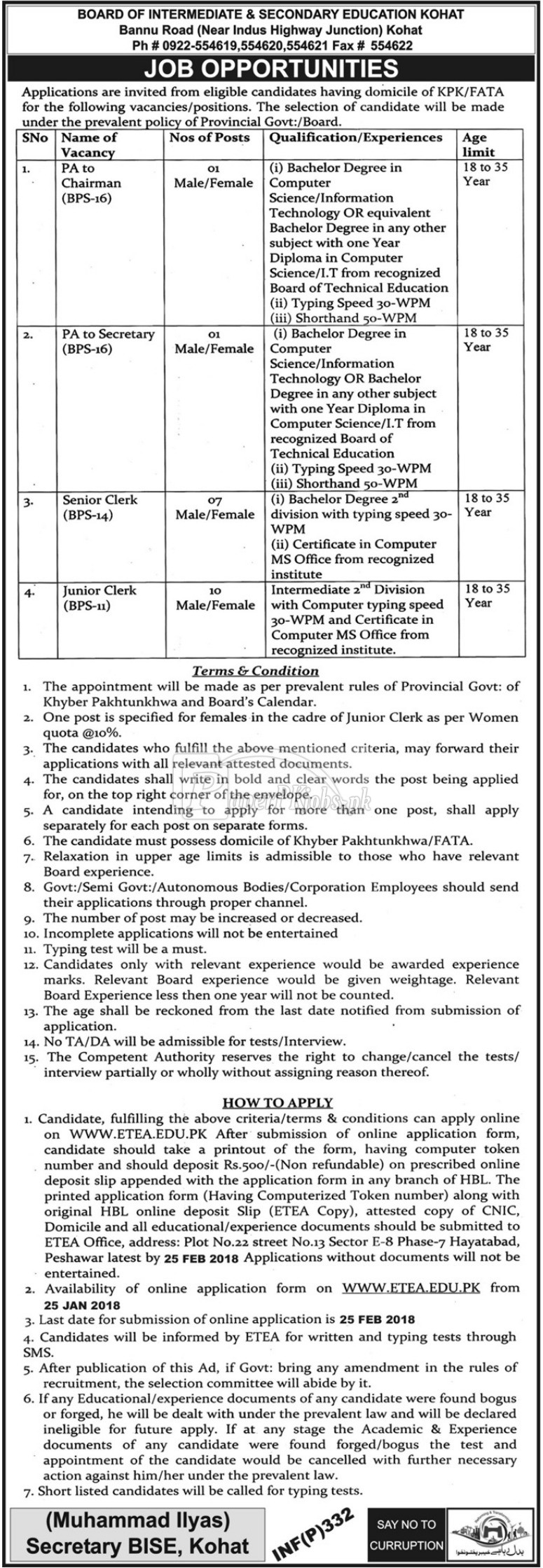 Board of Intermediate & Secondary Education BISE Kohat ETEA Jobs 2018