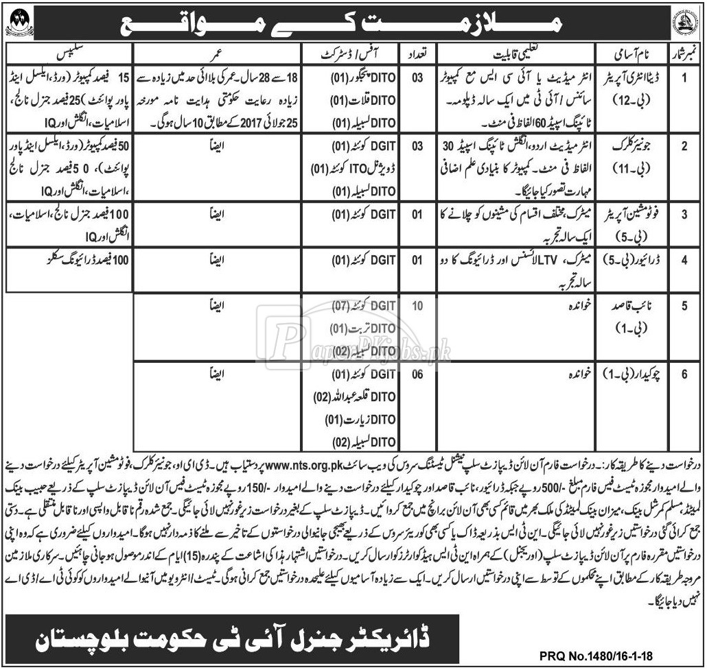 Director General IT Balochistan NTS Jobs 2018