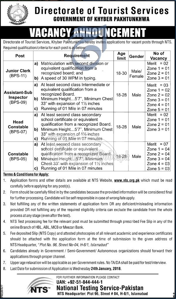 Directorate of Tourist Services Peshawar KPK NTS Jobs 2018