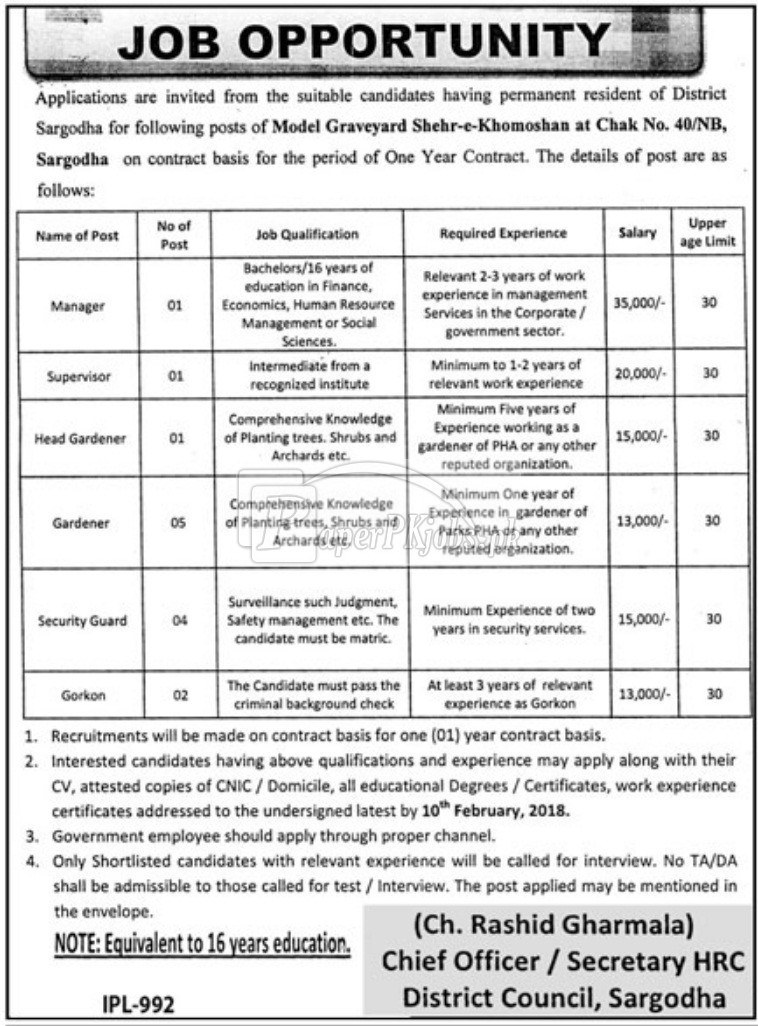 District Council Sargodha Jobs 2018